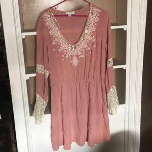 3/$30 - Plus Pink Dress with Cream Lace Details